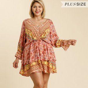 Umgee Plus Floral Border Layer Rose Mix Dress NWT